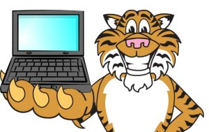 Clip art illustration of a Cartoon Tiger with a Missing Tooth